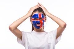 Δυστυχισμένος και αποτυχία του στόχου ή χάστε τις συγκινήσεις παιχνιδιών του ισλανδικού οπαδού ποδοσφαίρου στην υποστήριξη παιχνι Στοκ Εικόνα