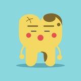 Δυστυχισμένος χαρακτήρας δοντιών κινούμενων σχεδίων με τα προβλήματα αποσύνθεσης, οδοντική διανυσματική απεικόνιση για τα παιδιά Στοκ Εικόνες