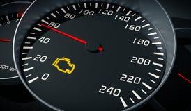 Δυσλειτουργία μηχανών που προειδοποιεί τον ελαφρύ έλεγχο στο ταμπλό αυτοκινήτων απεικόνιση που δίνεται τρισδιάστατη απεικόνιση αποθεμάτων