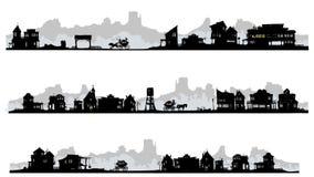 Δυτικά κτήρια σκιαγραφιών ύφους. ελεύθερη απεικόνιση δικαιώματος