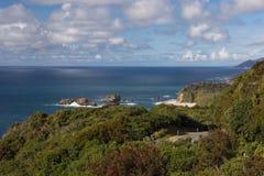 Δυτική ακτή της Νέας Ζηλανδίας όπως βλέπει από το σημείο του ιππότη. Παραλία, Τ Στοκ Εικόνες