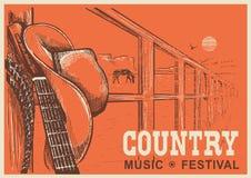 Δυτική αφίσα country μουσικής με το καπέλο κάουμποϋ και την κιθάρα μουσικής απεικόνιση αποθεμάτων