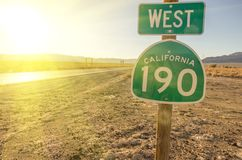 Δυτική Καλιφόρνια 190 πινακίδα Στοκ φωτογραφίες με δικαίωμα ελεύθερης χρήσης