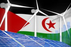 Δυτική Σαχάρα ηλιακή και ψηφιακή έννοια γραφικών παραστάσεων αιολικής ενέργειας - εναλλακτική φυσική ενεργειακή βιομηχανική απεικ απεικόνιση αποθεμάτων