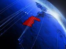 Δυτική Σαχάρα στην μπλε μπλε ψηφιακή σφαίρα απεικόνιση αποθεμάτων