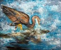 Δυτικός ερωδιός σκοπέλων που αλιεύει, ακρυλική ζωγραφική Στοκ Εικόνες