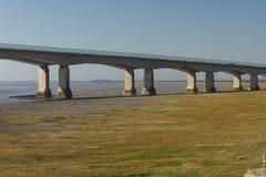 Δυτικό τέλος του δεύτερου Severn που διασχίζει, γέφυρα πέρα από το Μπρίστολ Γ Στοκ φωτογραφία με δικαίωμα ελεύθερης χρήσης