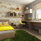 Δωμάτιο για ένα παιδί με ένα γραφείο και το κρεβάτι διανυσματική απεικόνιση