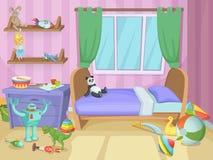 Δωμάτιο για τα παιδιά με τα αστεία παιχνίδια στο πάτωμα παιχνίδι παιδιών επίσης corel σύρετε το διάνυσμα απεικόνισης Στοκ Φωτογραφία