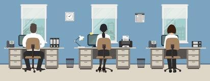 Δωμάτιο γραφείων σε ένα μπλε χρώμα Οι εργαζόμενοι γραφείων κάθονται στα γραφεία απεικόνιση αποθεμάτων
