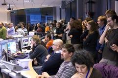 Δωμάτιο ελέγχου ΑΤΛΆΝΤΩΝ Κέντρο Πυρηνικών Μελετών και Ερευνών (CERN) Στοκ Εικόνα