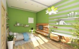 Δωμάτιο εφήβου με το χρωματισμένο τοίχο Στοκ Εικόνες