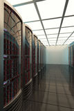 Δωμάτιο κεντρικών υπολογιστών, τηλεπικοινωνίες, προστασία δεδομένων, τρισδιάστατη στοκ εικόνες με δικαίωμα ελεύθερης χρήσης