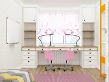Δωμάτιο κοριτσιών ` s - άνετος εργασιακός χώρος τρισδιάστατη απόδοση Στοκ φωτογραφία με δικαίωμα ελεύθερης χρήσης