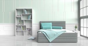 δωμάτιο κρεβατιών στην ευτυχή ημέρα Στοκ εικόνα με δικαίωμα ελεύθερης χρήσης