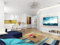 Δωμάτιο με μια άποψη της τραπεζαρίας και της κουζίνας Στοκ φωτογραφία με δικαίωμα ελεύθερης χρήσης