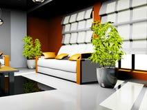 Δωμάτιο με τα έπιπλα δέρματος ελεύθερη απεικόνιση δικαιώματος