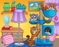 Δωμάτιο με τις ευτυχείς γάτες Στοκ Εικόνες