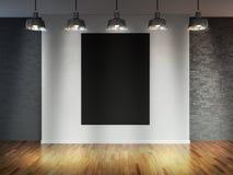 Δωμάτιο με τους λαμπτήρες επικέντρων, κενό διάστημα με το ξύλινους δάπεδο και το τουβλότοιχο ως υπόβαθρο ή σκηνικό για την τοποθέ απεικόνιση αποθεμάτων