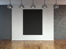 Δωμάτιο με τους λαμπτήρες επικέντρων, κενό διάστημα με το ξύλινους δάπεδο και το τουβλότοιχο ως υπόβαθρο ή σκηνικό για την τοποθέ διανυσματική απεικόνιση