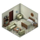 Δωμάτιο με το κρεβάτι και τον καναπέ Στοκ Φωτογραφίες