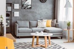 Δωμάτιο με το ξύλινο τραπεζάκι σαλονιού Στοκ Εικόνες