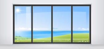 Δωμάτιο με το πανοραμικό παράθυρο Στοκ Εικόνα
