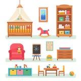 Δωμάτιο μωρών με τα έπιπλα διανυσματική απεικόνιση