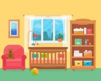Δωμάτιο μωρών με τα έπιπλα ελεύθερη απεικόνιση δικαιώματος