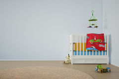 Δωμάτιο παιχνιδιού παιδιών με το κρεβάτι Στοκ Εικόνες