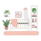 Δωμάτιο των εσωτερικών παιδιών Ένα σύνολο επίπλων για το δωμάτιο του κοριτσιού Έπιπλα που απομονώνονται στο άσπρο υπόβαθρο E διανυσματική απεικόνιση