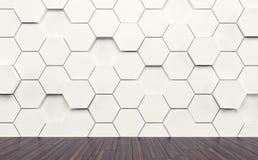 Δωμάτιο Abstact με το σκοτεινό ξύλινο πάτωμα και το φουτουριστικό τοίχο τρισδιάστατος δώστε ελεύθερη απεικόνιση δικαιώματος