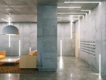 Δωμάτιο Minimalistic με τις συγκεκριμένες επιφάνειες (θέση και καθιστικό Στοκ Φωτογραφία