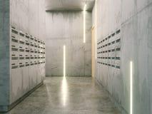Δωμάτιο Minimalistic με τις συγκεκριμένες επιφάνειες (μετα κιβώτια σε δύο sid Στοκ Εικόνες