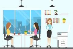Δωμάτιο Ofice με τους εργαζομένους διανυσματική απεικόνιση