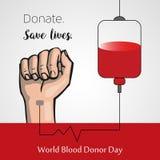 Δωρεά αίματος, διανυσματική αφίσα ημέρας παγκόσμιων χορηγών απεικόνιση αποθεμάτων