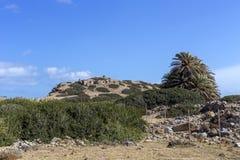 Δωρική περίοδος Minoan πόλεων Itanos μια ηλιόλουστη ημέρα Σητεία, νησί Κρήτη, Ελλάδα στοκ φωτογραφία