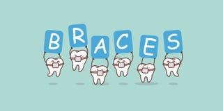 Δόντια που κρατούν τον πίνακα διαφημίσεων των στηριγμάτων απεικόνιση αποθεμάτων