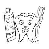 Δόντι κινούμενων σχεδίων με την κόλλα tooht και τον οδοντόβουρτσα-διανυσματικό χαρακτήρα ελεύθερη απεικόνιση δικαιώματος