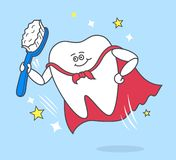Δόντι κινούμενων σχεδίων με την οδοντόβουρτσα που φορά έναν κόκκινο επενδύτη απεικόνιση αποθεμάτων