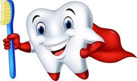 Δόντι superhero κινούμενων σχεδίων με την οδοντόβουρτσα Στοκ Εικόνες