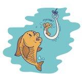Δόλωμα αλιείας κινούμενων σχεδίων Στοκ Εικόνα