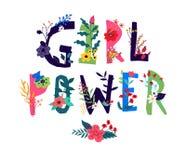 Δύναμη κοριτσιών επιγραφής, που περιβάλλεται από τα λουλούδια διάνυσμα Απεικόνιση στο ύφος κινούμενων σχεδίων Κινητήριο σύνθημα ω απεικόνιση αποθεμάτων
