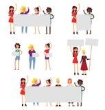 Δύναμη κοριτσιών και καθορισμένη διανυσματική επίπεδη απεικόνιση εικονιδίων φεμινισμού απεικόνιση αποθεμάτων