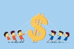 Δύο άνθρωποι ομαδοποιούν την παίζοντας σύγκρουση για τα χρήματα ελεύθερη απεικόνιση δικαιώματος