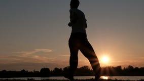 Δύο άνθρωποι που οργανώνονται αργά κατά μήκος των όχθεων του ποταμού ή της λίμνης ένα προς ένα Ο πατέρας και ο γιος σκιαγραφιών σ φιλμ μικρού μήκους