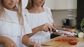 Δύο έφηβη στα άσπρα ενδύματα είναι τέμνοντα λαχανικά σε έναν ξύλινο πίνακα πίσω από τον πίνακα κουζινών στην κουζίνα απόθεμα βίντεο