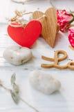 Δύο αγάπη καρδιών και μηνυμάτων Στοκ φωτογραφία με δικαίωμα ελεύθερης χρήσης