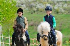 Δύο αγόρια με τα πόνι Στοκ φωτογραφία με δικαίωμα ελεύθερης χρήσης