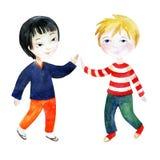 Δύο αγόρια που κρατούν τα χέρια Στοκ εικόνες με δικαίωμα ελεύθερης χρήσης